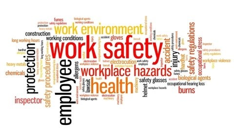 A picture of a word cloud of health and safety terms