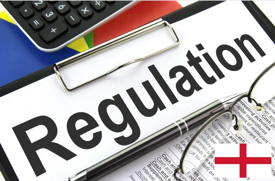 A picture of a Regulation sign with England Flag