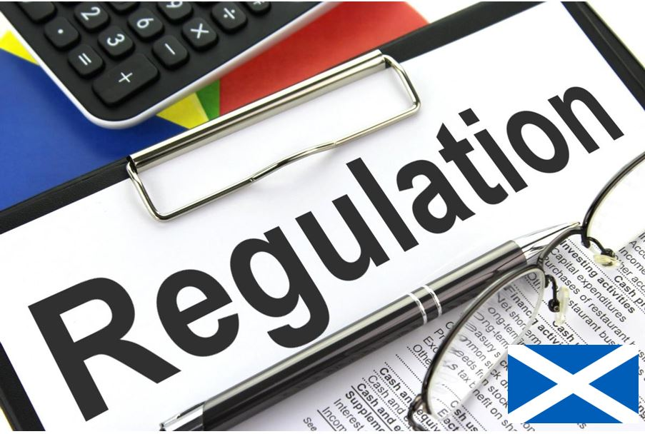 A picture of a Regulation sign with Scottish Flag